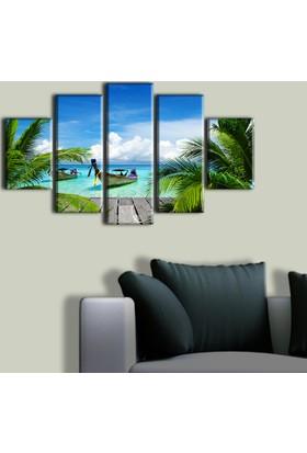 Tablo Art House Okyanus ve Tekneler 5 Parça Kanvas Tablo 60 x 100 cm