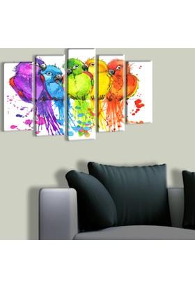 Tablo Art House Rengarenk Kuşlar 5 Parça Kanvas Tablo 60 x 100 cm