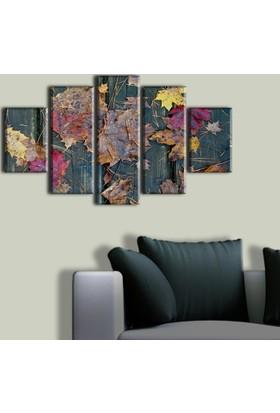 Tablo Art House Ahşap Üzerinde Sonbahar Yaprakları 5 Parça Kanvas Tablo 60 x 100 cm