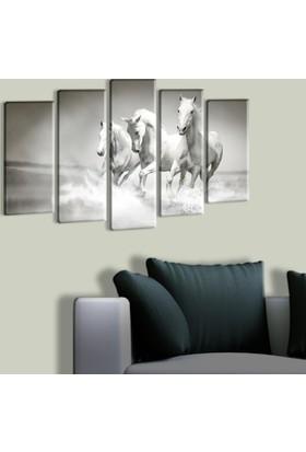 Tablo Art House Muhteşem Atlar 5 Parça Kanvas Tablo 60 x 100 cm