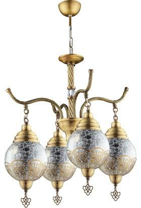 Nisaluce Sultan 4'Lü Avize Antik