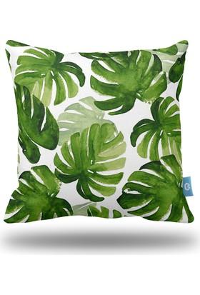 Bc Home Tropikal Yapraklar Suluboya Dekoratif Yastık / Kırlent Kılıfı
