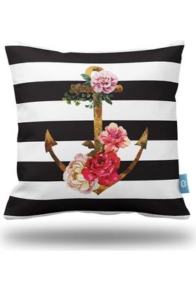 Bc Home Güller & Çapa Siyah Şeritler Dekoratif Yastık / Kırlent Dolgulu