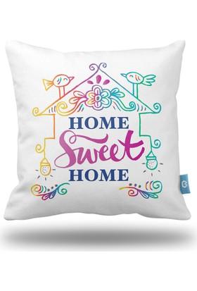 Bc Home Home Sweet Home Dekoratif Yastık / Kırlent Dolgulu