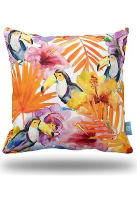 Bc Home Tropikal Desenli Dekoratif Yastık / Kırlent Kılıfı