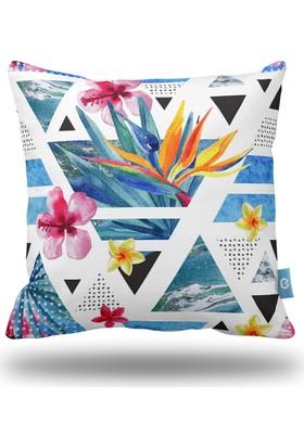 Bc Home Çiçekler Geometrik Dekoratif Yastık / Kırlent Dolgulu