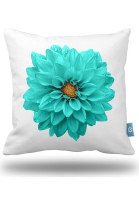 Bc Home Turkuaz Çiçek Dekoratif Yastık / Kırlent Dolgulu