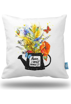 Bc Home Home Sweet Home Çiçekler Dekoratif Yastık / Kırlent Dolgulu