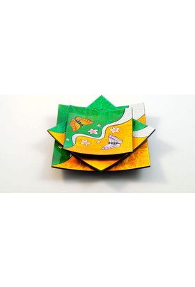 Misiny El Boyama 2 Renkli Kelebek Tabak Seti -3'Lü