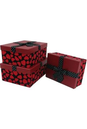 Misiny Kalp Baskılı 3'Lü Kutu Seti - Kırmızı