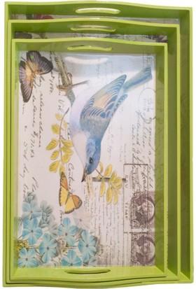 Misiny Kuş Desenli Ahşap Tepsi 3'Lü Seti-002