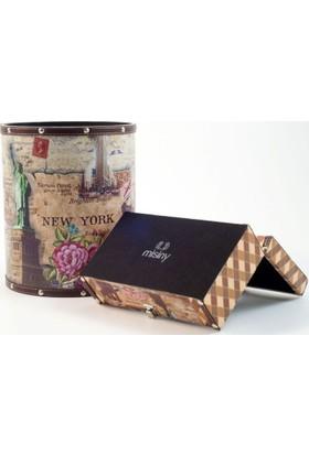 Misiny Newyork Desenli Deri Çöp Kutusu Seti-004