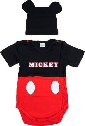 Mickey Mouse MC11948 Bebek Şapkalı Body Takım