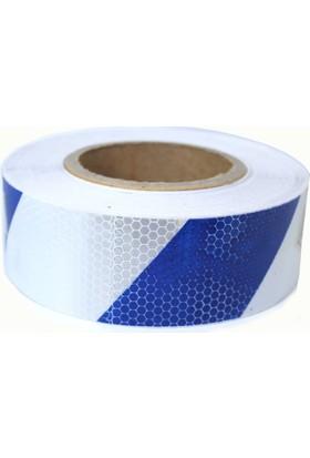 AutoEN Petekli Desen Çapraz Mavi Beyaz Fosfor Şerit 5 cm x 5 Metre 8014422