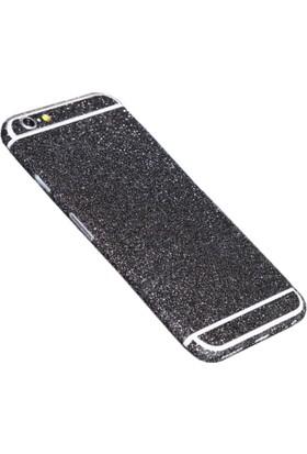 Yabidur Apple iPhone 6 Parıltılı Simli Sticker Kaplama Siyah