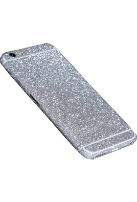 Yabidur Apple iPhone 6 Parıltılı Simli Sticker Kaplama Gümüş