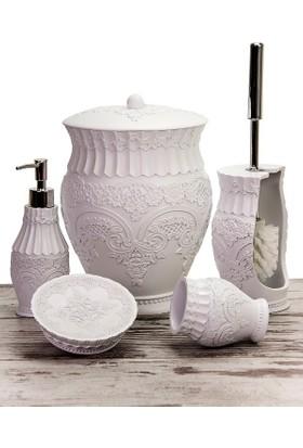 Mukko Home Polyester 5 Parça Banyo Seti / Flora Beyaz