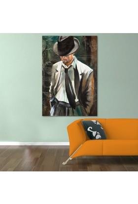 Doku Tablo Şapkalı Adam Dev Boyut Kanvas Tablo 100x150