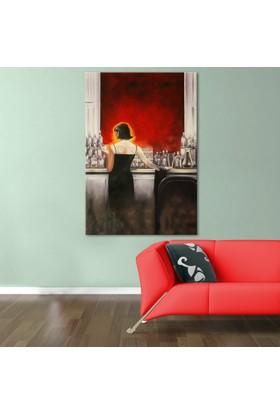 Doku Tablo Bardaki Kadın Dev Boyut Kanvas Tablo 100x150