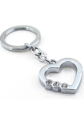 Solfera Parlak Taşlı Kalp Sevgili Aşk Metal Anahtarlık Kc690