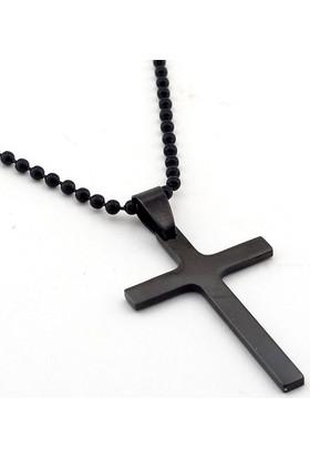 Solfera Siyah Renkli Sade Tasarım Haç Erkek Çelik Kolye K890