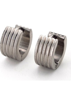 Solfera Gümüş Renk Dört Çizgi Halka Paslanmaz Çelik Erkek Küpe E445