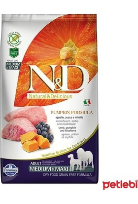 N&D Bal Kabaklı Kuzulu Ve Yaban Mersinli Orta Ve Büyük Irk Tahılsız Yetişkin Köpek Maması 2,5Kg