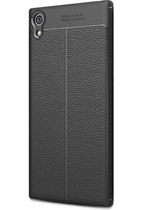 Kny Sony Xperia Xa1 Ultra Kılıf Deri Desenli Lux Niss Silikon+Cam