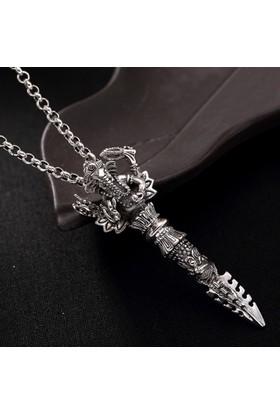 Chavin Kılıç Fil,Şans Gümüş Kaplama Zincirli Erkek Kolye Dr46