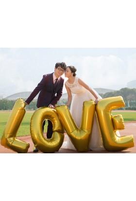 Cinbüyük Boy 4 Adet 75 Cm. Gold Rengi Love Aşk Folyo Balon Cin124