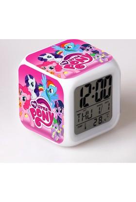 Lopard My Little Pony Dijital Masa Saati 7 Led Işıklı Saat Termometre Başucu Gece Lambası ve Lopard Kalem