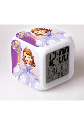 Lopard Prenses Sofia Dijital Masa Saati 7 Led Işıklı Saat Termometre Başucu Gece Lambası ve Lopard Kalem