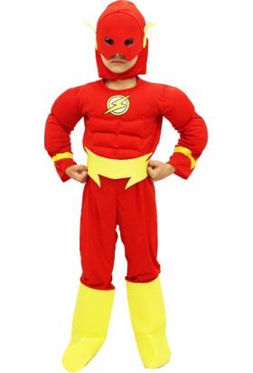 Hkostüm Flash Kaslı Lüks Çocuk Kostümü 4-6 Yaş