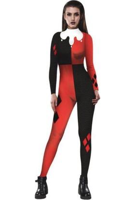 Hkostüm Cadılar Bayramı Harley Quinn Joker Bayan Yetişkin Bodysuit Kostüm Large