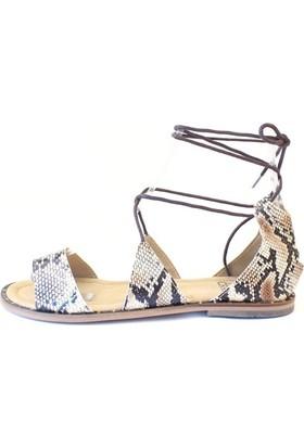 Shop And Shoes 066-5240 Kadın Sandalet Bej Yılan