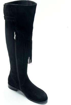 Shop And Shoes 121-1704107 Kadın Çizme Siyah Süet