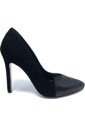 Shop And Shoes 122-2072 Kadın Stiletto Siyah Süet Siyah Sim