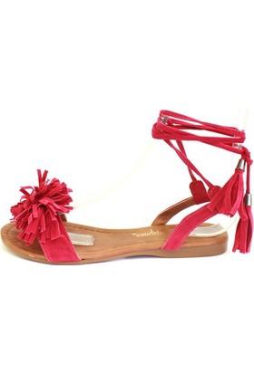 Shop And Shoes 127-1725 Kadın Sandalet Fuşya Süet