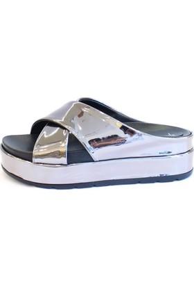 Shop And Shoes 155-106-1 Kadın Terlik Platin Ayna