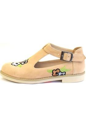 Shop And Shoes 155-1127 Kadın Ayakkabı Ten Süet