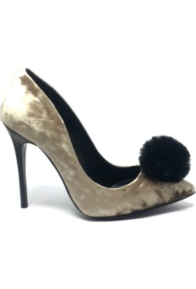 Shop And Shoes 155-1885 Kadın Ayakkabı Vizon Kadife