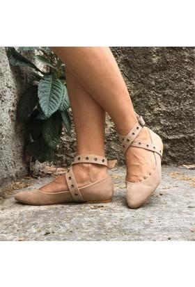 Shop And Shoes 155-2466 Kadın Ayakkabı Ten Süet