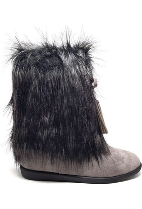 Shop And Shoes 155-8006 Kadın Bot Gri Süet