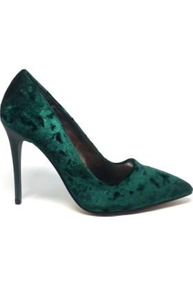 Shop And Shoes 164-250K Kadın Ayakkabı Yeşil Kadife