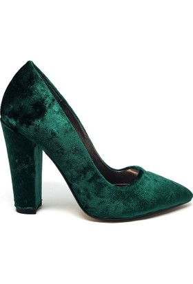 Shop And Shoes 164-260K Kadın Ayakkabı Yeşil Kadife