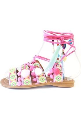 Shop And Shoes 166-400 Kadın Sandalet Pembe