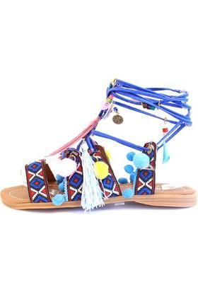 Shop And Shoes 166-400 Kadın Sandalet Mavi