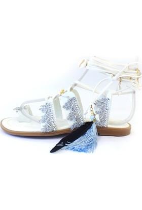 Shop And Shoes 166-500 Kadın Sandalet Gümüş