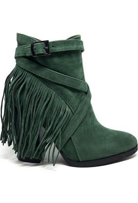 Shop And Shoes 171-401 Kadın Bot Yeşil Süet