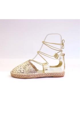 Shop And Shoes 172-1403 Kadın Ayakkabı Altın Yılan